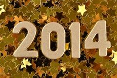 2014-jährige goldene Zahlen Stockbild
