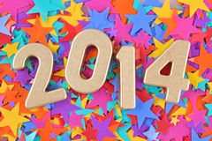 2014-jährige goldene Zahlen Stockbilder