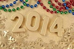 2014-jährige goldene Zahlen Lizenzfreie Stockfotos