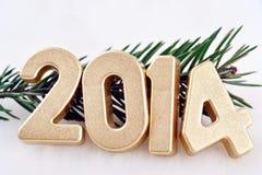 2014-jährige goldene Zahlen Lizenzfreie Stockbilder