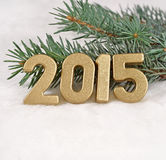 2015-jährige goldene Zahlen Stockbild