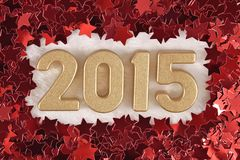 2015-jährige goldene Zahlen Stockbilder