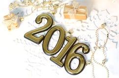 2016-jährige goldene Zahlen Lizenzfreie Stockfotos