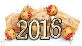 2016-jährige goldene Zahlen Stockbilder