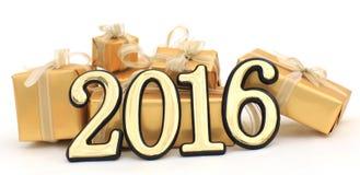 2016-jährige goldene Zahlen Lizenzfreie Stockfotografie