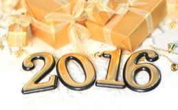 2016-jährige goldene Zahlen Stockfotografie