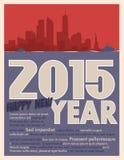2015-jährige Grußkarte Stockbild