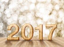 2017-jährige hölzerne Zahl im Perspektivenraum mit funkelndem bokeh w Lizenzfreies Stockfoto