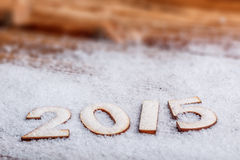 2015-jährige hölzerne Zahlen Stockfoto
