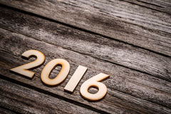 2016-jährige hölzerne Zahlen Stockbilder