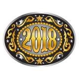 2018-jährige ovale WestcowboyGürtelschnalle Lizenzfreie Stockfotos