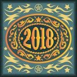 2018-jährige ovale WestcowboyGürtelschnalle Lizenzfreies Stockfoto
