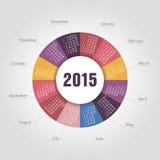 2015-jährige runde Form des Kalenders Lizenzfreie Stockfotos