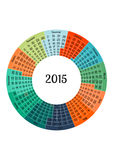 2015-jährige Schablone des Kreis-Kalenders Stockfotografie