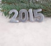 2015-jährige silberne Zahlen Stockbild