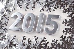 2015-jährige silberne Zahlen Lizenzfreies Stockfoto