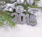 2015-jährige silberne Zahlen Stockfotografie
