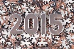 2015-jährige silberne Zahlen Lizenzfreie Stockfotos