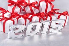 2015-jährige silberne Zahlen Lizenzfreie Stockbilder