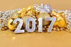 2017-jährige silberne Zahlen Stockfotografie