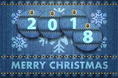 2018-jährige Stellen und Grüße der frohen Weihnachten auf Blue Jeans-BAC Stock Abbildung