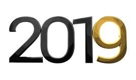 2019-jährige Zahl schwarze und goldene 3d übertragen Stockbilder