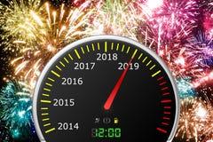 2019-jähriger Autogeschwindigkeitsmesser lizenzfreies stockfoto