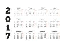 2017-jähriger einfacher Kalender auf der französischen Sprache, lokalisiert auf Weiß Lizenzfreie Stockbilder