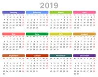 2019-jähriger jährlicher Kalender Montag zuerst, englisch vektor abbildung