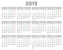 2015-jähriger jährlicher Kalender (Montag zuerst, englische) vektor abbildung