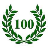 100-jähriger Jahrestag des Lorbeerkranzes auf einem weißen Hintergrund lizenzfreie abbildung