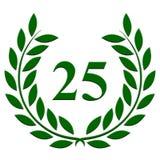 25-jähriger Jahrestag des Lorbeerkranzes auf einem weißen Hintergrund lizenzfreie abbildung