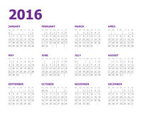 2016-jähriger Kalender Lizenzfreie Stockfotografie