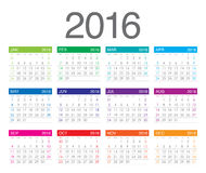 2016-jähriger Kalender Lizenzfreie Stockbilder