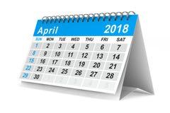 2018-jähriger Kalender april Lokalisierte Illustration 3d Stockbilder