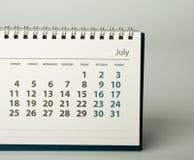 2016-jähriger Kalender juli Lizenzfreie Stockbilder