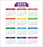 2019-jähriger Kalender lokalisiert auf weißem Hintergrundvektor illustra Lizenzfreie Abbildung