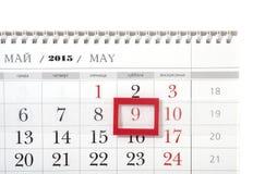2015-jähriger Kalender mit dem Datum vom 9. Mai Stockfotos