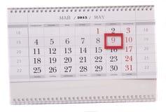 2015-jähriger Kalender mit dem Datum vom 9. Mai Lizenzfreie Stockfotos