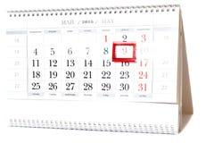 2015-jähriger Kalender mit dem Datum vom 9. Mai Stockbild