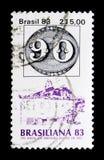 140-jähriger ` Olhos-De--boi` Stempel, internationales Stempel-Ausstellung BRASILIANA serie, circa 1983 Lizenzfreies Stockbild