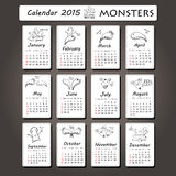 2015-jähriges Design des Monsterkalenders, Englisch, Sonntags-Anfang Lizenzfreie Stockfotografie