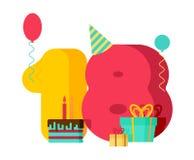 18-jähriges Geburtstagszeichen 18. Schablonengrußkartenjahrestag c Vektor Abbildung