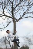 10-jähriges Mädchen, das auf einem Baum blickt in Richtung der Kamera klettert Lizenzfreie Stockbilder