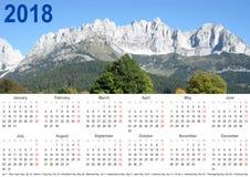 Jährliche Kalender 2018 USA-Berglandschaft Lizenzfreie Stockbilder