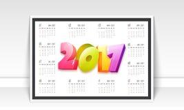 Jährlicher Kalender von 2017-jährigem Vektor Abbildung