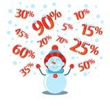 Jährlicher Verkauf Schwärzen Sie Freitag Ein Satz Zahlen im Schnee Schneemann fängt Rabatte vektor abbildung