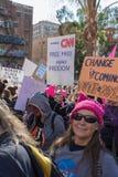 2. jährliches Frauen ` s März - freie Presse Lizenzfreies Stockfoto