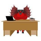 Jäkel av arbetsplatsen Satanframstickande som i regeringsställning sitter Röd demon på w vektor illustrationer