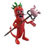 Jäkel Chili Pepper Stabbing en mage Vektor Illustrationer